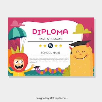 Certificado de graduación colorido con monstruo sonriente y niño divertido