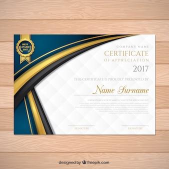 Certificado de graduación elegante con formas onduladas