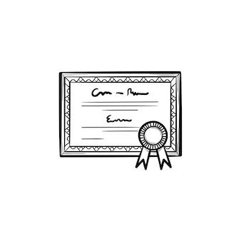 Certificado de graduación icono de doodle de contorno dibujado a mano. diploma con ilustración de dibujo de vector de roseta de premio para impresión, web, móvil e infografía aislado sobre fondo blanco.