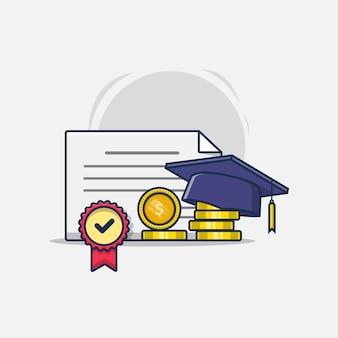 Certificado de graduación de medalla con sombrero y monedas de oro.