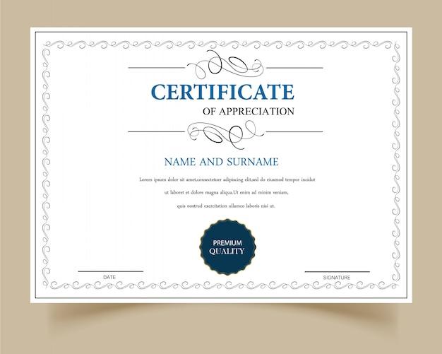 Certificado de gratitud en blanco