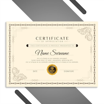 Certificado hermoso elegante abstracto