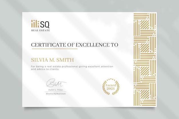 Certificado inmobiliario geométrico elegante