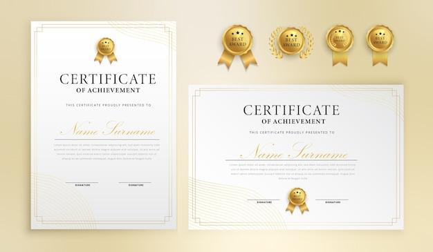 Certificado de líneas simples con insignia y plantilla de vector de borde a4