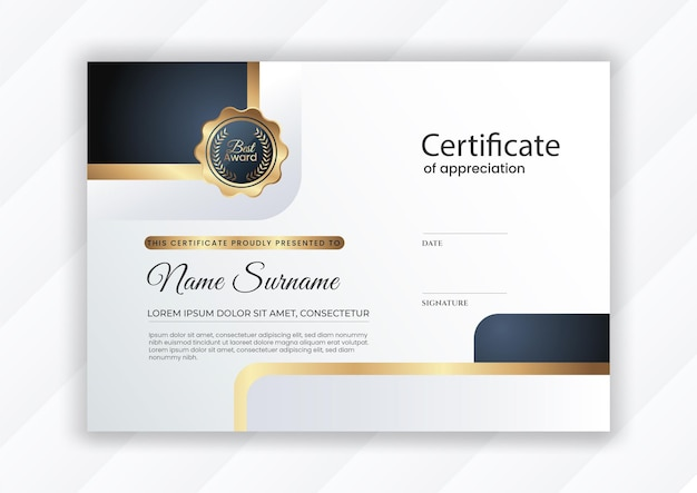 Certificado de logro con color dorado.