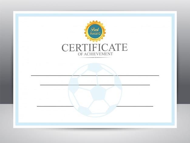 Certificado de logro para los deportes de fútbol.