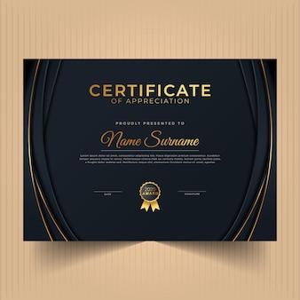 Certificado de logro con diseño moderno con línea dorada