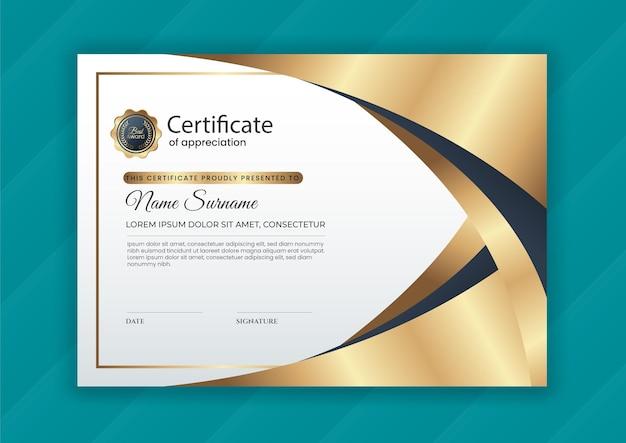 Certificado de logro de diseño moderno.