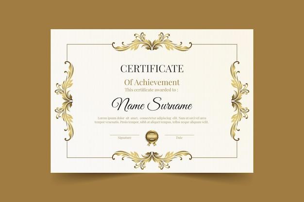 Certificado de logro dorado degradado
