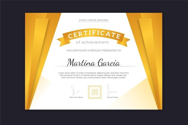 Certificado de logro con efecto de cortinas doradas y cinta