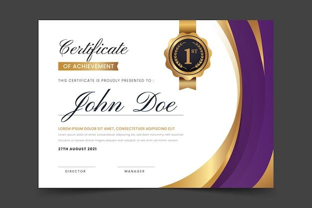 Certificado de logro elegante degradado