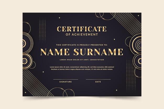Certificado de logro de lujo dorado degradado