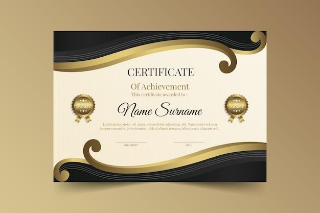 Certificado de logro de lujo dorado
