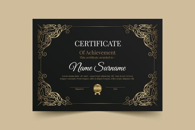 Certificado de logro de lujo