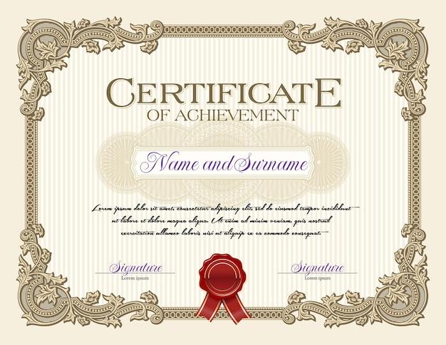 Certificado de logro de marco vintage de ornamento