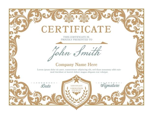 Certificado de logro marco vintage.