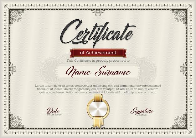 Certificado de logro en marco vintage