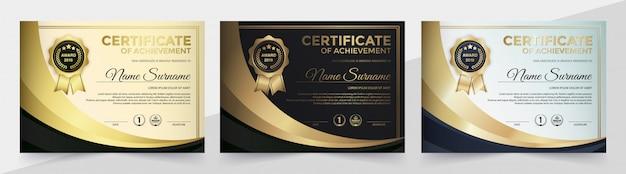 Certificado de logro mejor diploma conjunto de diplomas.