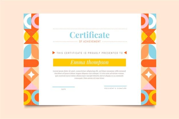 Certificado de logro de mosaico plano