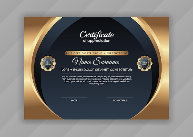 Certificado de logro con oro y colo oscuro.