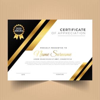 Certificado de logro con plantilla de diseño moderno