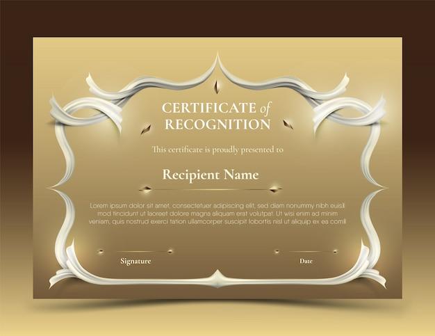 Certificado de logro plantilla vintage borde blanco