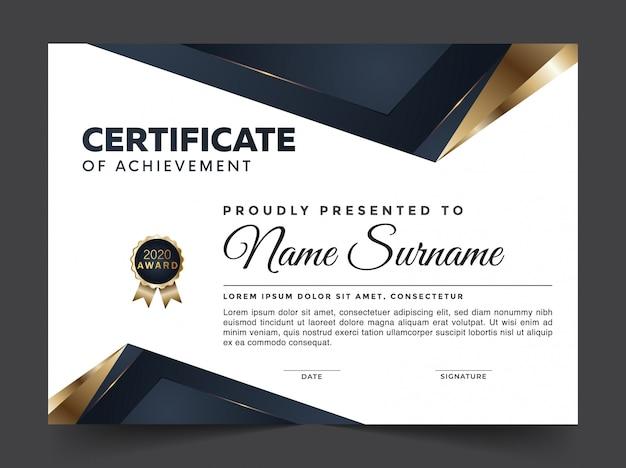 Certificado de logro premium abstracto