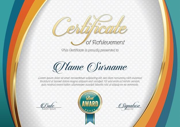 Certificado de logro Vector Premium