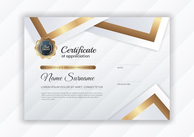 Certificado de lujo dorado degradado con colo blanco