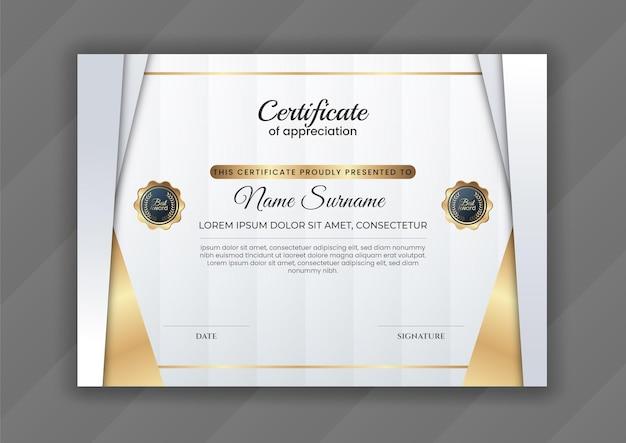 Certificado de lujo dorado degradado con diseño moderno.