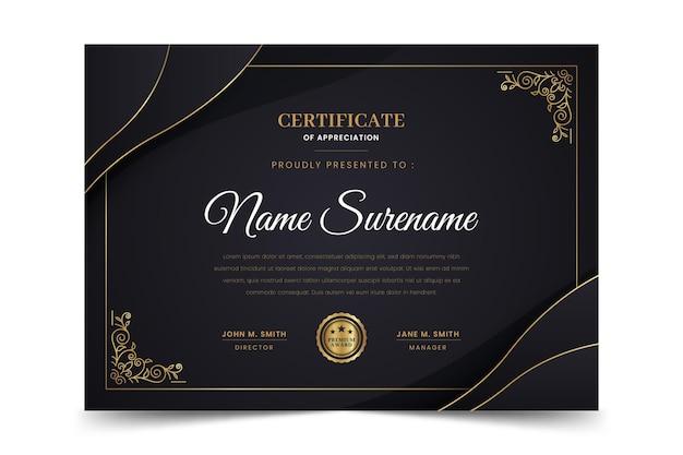 Certificado de lujo dorado degradado