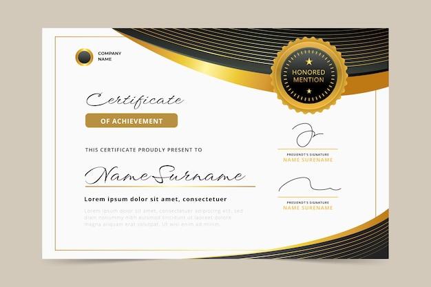 Certificado de lujo dorado realista