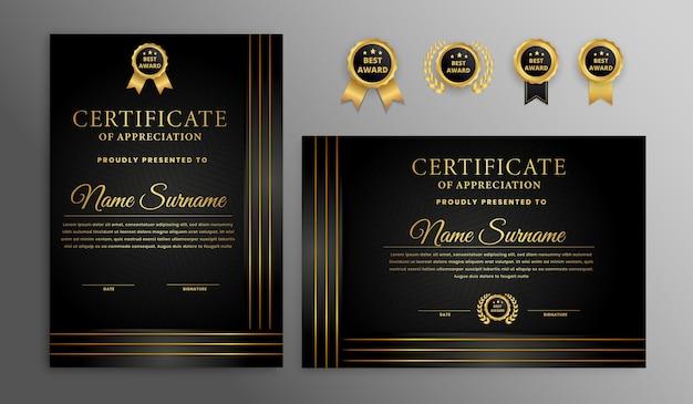 Certificado de lujo moderno negro y dorado con borde de marco de insignia