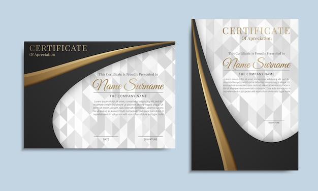 Certificado de lujo negro de plantilla de logro con insignia de premio dorado