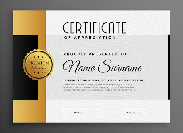 Certificado de lujo premium