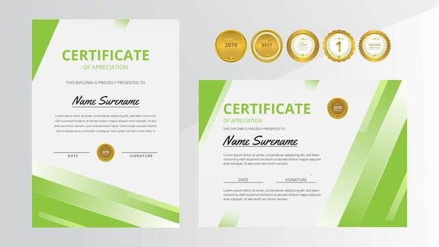Certificado de lujo verde degradado con insignia dorada para negocios y educación de premios