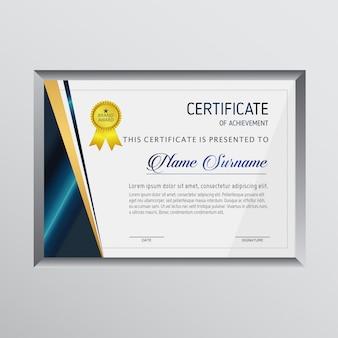 Certificado con un marco gris