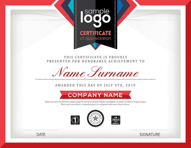 Certificado con un marco rojo
