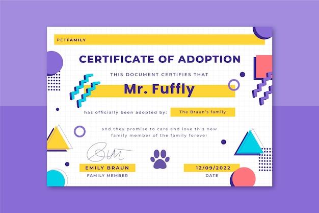 Certificado de mascotas coloridas de memphis