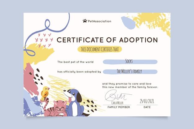 Certificado de mascotas infantiles pintadas en abstracto