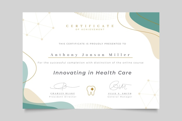Certificado médico abstracto elegante
