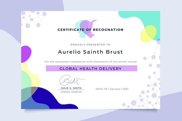 Certificado médico colorido abstracto