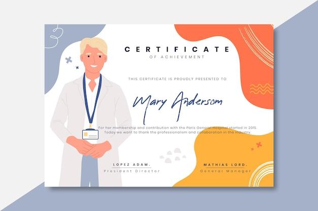 Certificado médico infantil dibujado a mano.