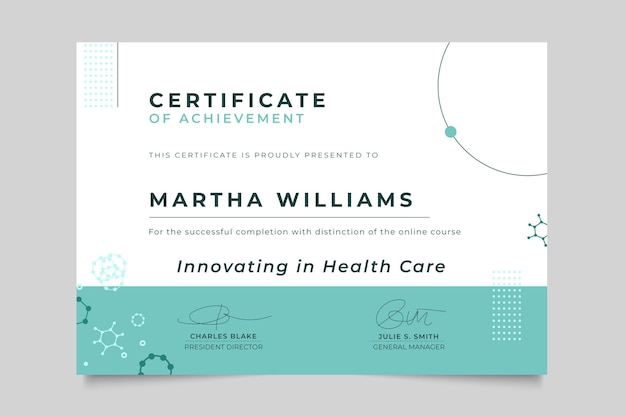 Certificado médico minimalista abstracto