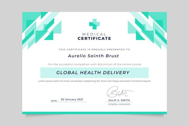 Certificado médico monocolor geométrico