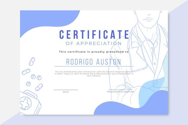 Certificado médico realista dibujado a mano