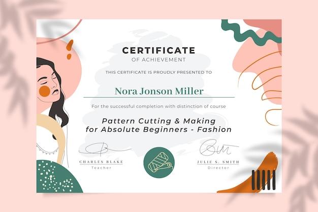 Certificado de moda colorido pintado abstracto