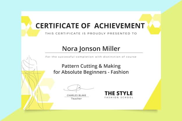 Certificado de moda monocolor geométrico