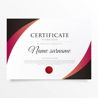 Certificado moderno de apreciación