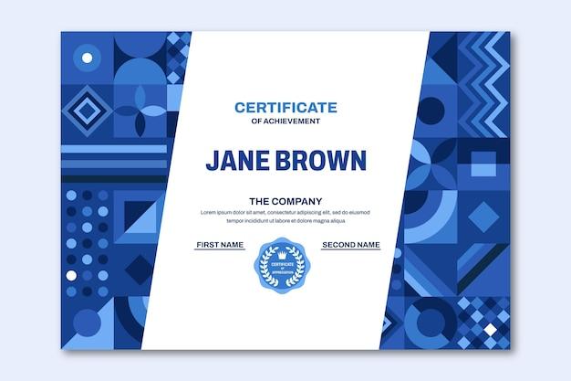 Certificado moderno de diseño plano